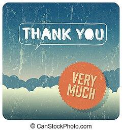 """thank, rocznik wina, wektor, you"", card."
