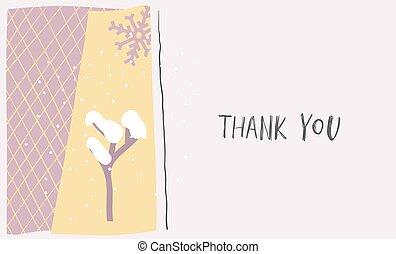 Thank snow winter Christmas snowflake season card