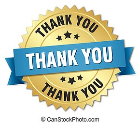 thank you 3d gold badge with blue ribbon