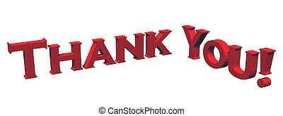 Thank You - 3D text in red on white background