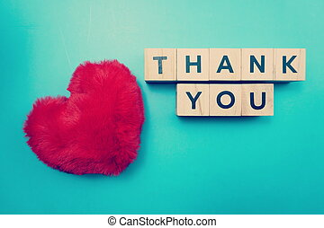 Thank You alphabet letters with space copy on blue background