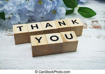 Thank You alphabet letters  with space copy on wooden background