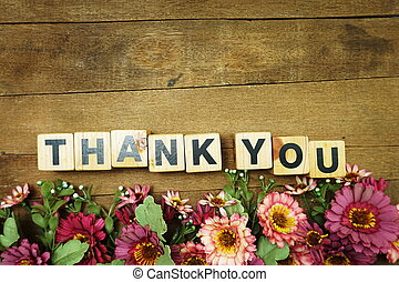 thank you alphabet letters word wooden block on wooden background