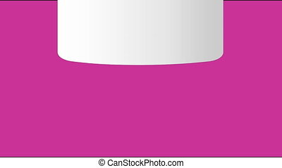 Thank you animated banner with white slip of paper, handwritten caption on pink background