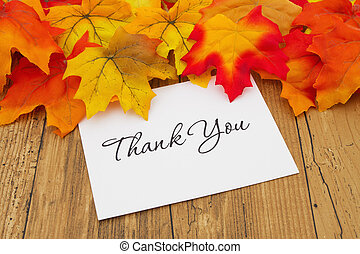 Thank You, Autumn Leaves on weathered grunge wood with a...