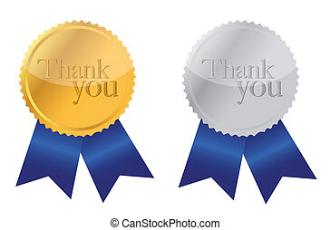 Thank you Award medals golden and silver with blue ribbons.