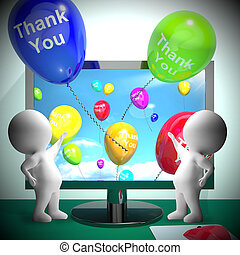 Thank You Balloons From Computer 3d Rendering