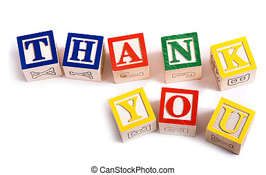 """A child's alphabet blocks on a white background spelling out the words """"thank you"""""""