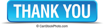 Thank you blue 3d realistic square isolated button