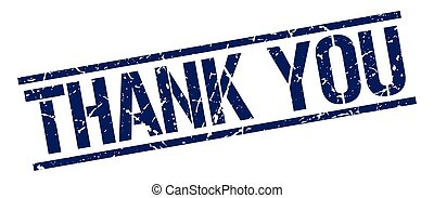 thank you blue grunge square vintage rubber stamp