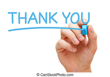 Hand writing Thank You with blue marker on transparent wipe board.