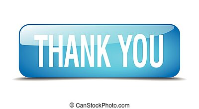 thank you blue square 3d realistic isolated web button