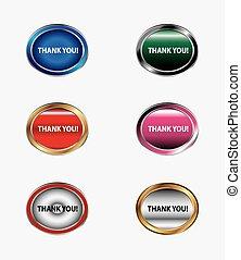 Thank You Button icon set vector