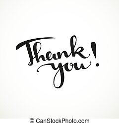 Thank you calligraphic inscription on a white background