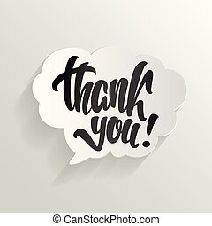 thank you calligraphy hand lettering on cloud vector illustration.