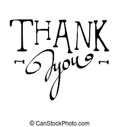 Thank You calligraphy vector illustration isolated on white background