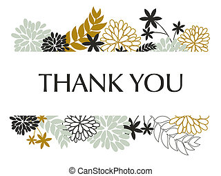Thank You Card - A greeting card template with floral...