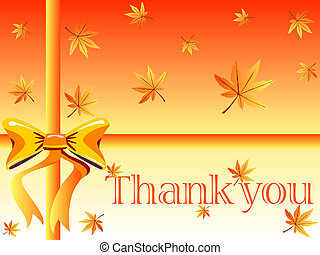 Thank you card - Autumn design with maple leaves ,orange bow...