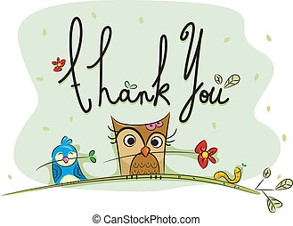 Thank You Card - Illustration of a Thank You Card with Birds...