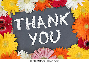 Thank you card garden with colorful flowers flower board