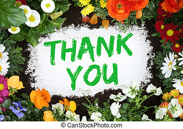 Thank you card garden with flowers flower