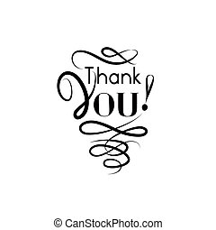 Thank you card, handwritten lettering, calligraphic line...