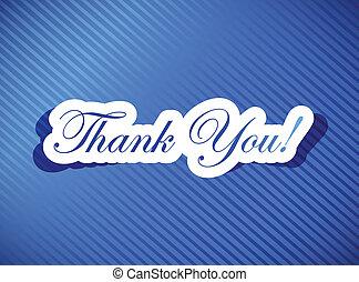 thank you card illustration design over a blue background