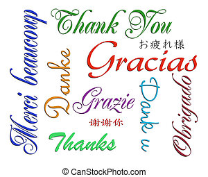 Illustration composition of the words Thank you written in many languages for thank you note on white background