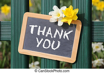 Thank you card spring garden with flowers flower sign board