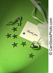 Thank You Card - Silver shoe, locket and stars with a thank...