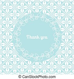 Thank you card template with floral frame