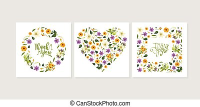 Thank You Card Template with Floral Pattern of Square, Circular and Heart Shape Vector Illustration
