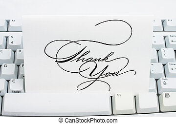 Thank You Card - Thank you card on a white keyboard