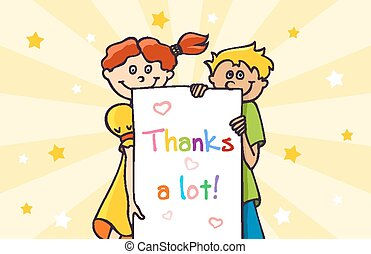 Thank you card - Thank You card with a two children