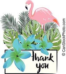 Thank You Card - vector flamingo thank you card