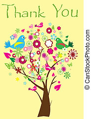 Thank You card - vector thank you card with a tree