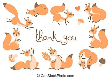 Thank You Card with Cute Squirrels. Illustration.