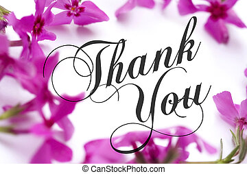 Thank You card with pink phlox background and elegant script...