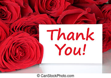 Thank you card with red roses flowers