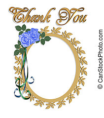 Thank you Card with Wedding Frame - 3d illustrated oval...