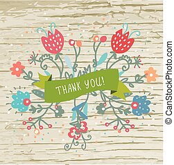 Thank you card with wood texture