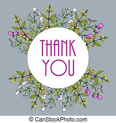 Thank you cards with beautiful sweet pea flowers and forsythia branches. Vector illustration