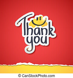 thank you - Thank You text on paper sticker, vector...