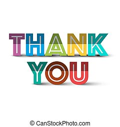 Thank You Colorful Paper Title Isolated on White Background
