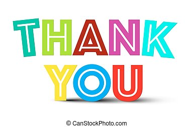 Thank You Colorful Title on White Background