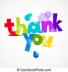 Thank You Colorful Title with Splashes Isolated on Grey Background