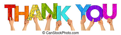 hands holding up colorful wooden letters shaping the word thank you isolated on white background