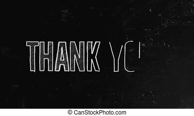 "Thank you concept written on blackboard. ""Thank you"" is a common expression of gratitude. It also often refers to a thank you letter, a letter written to express appreciation"