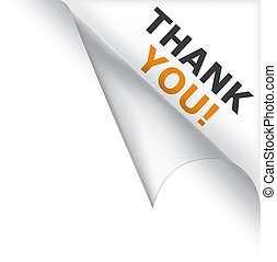 Thank You Curled Corner - Vector white page curled corner ...