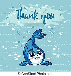 Thank you. Cute card with cartoon baby Seal. Vector illustration